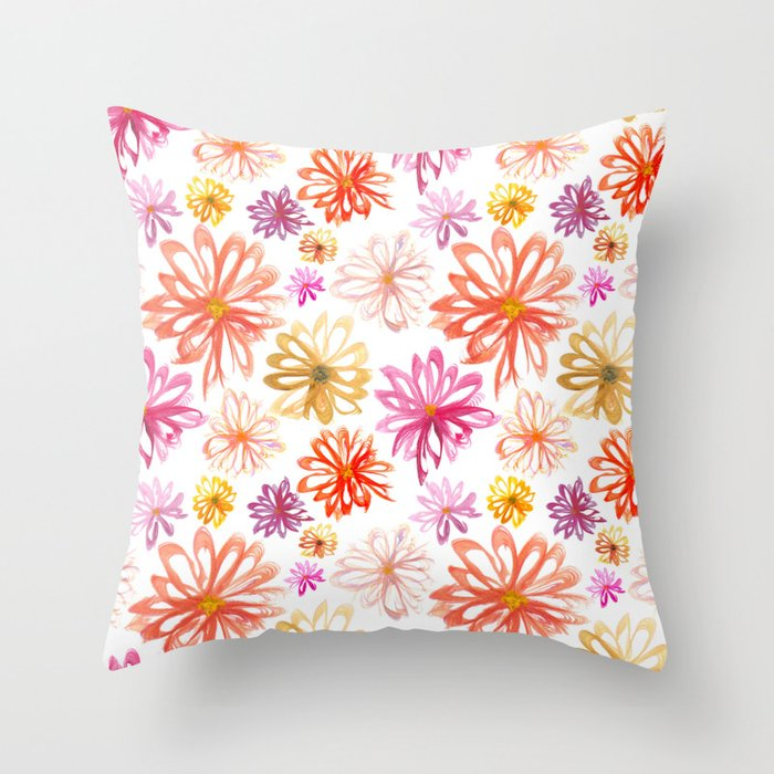 Painted Floral I Throw Pillow
