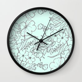 Dotted Floral Scroll in Mint and Grey Wall Clock