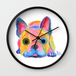 Nosey Dog French Bulldog ' AM I FRENCH ? ' by Shirley MacArthur Wall Clock