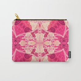 Bold Pink Floral Geometry Carry-All Pouch