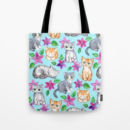 Kittens and Clematis - blue Tote Bag
