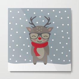 Merry Christmas Deer Metal Print