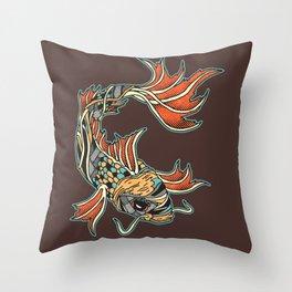 Bio-Mechanical Koi Throw Pillow