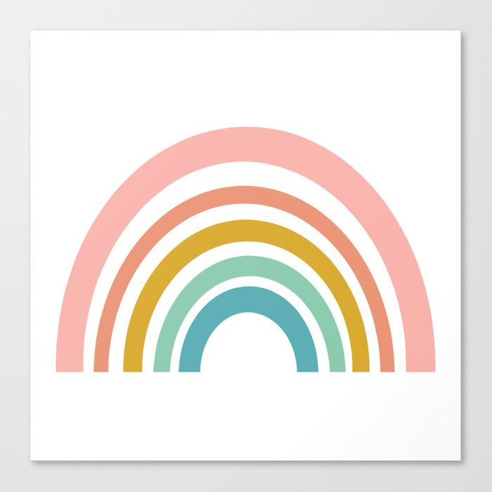 Simple Happy Rainbow Art Canvas Print
