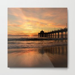Sunset, Fishing Pier Metal Print