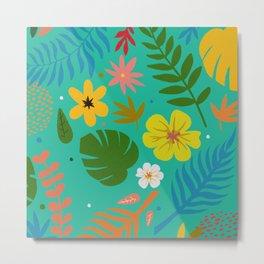 Spring Flower Pattern Metal Print