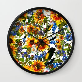 Abstract navy blue yellow watercolor sunflowers pansies pattern Wall Clock
