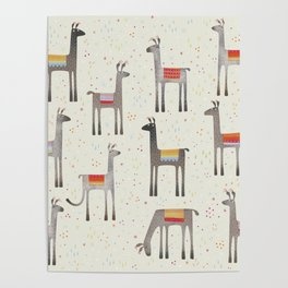 Llamas in the Meadow Poster