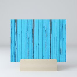 small abstract colored  blue wood pattern with fine structure Mini Art Print