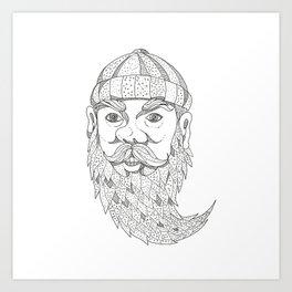 Paul Bunyan Lumberjack Doodle Art Art Print