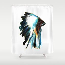 Indian Headdress Native America Illustration Shower Curtain