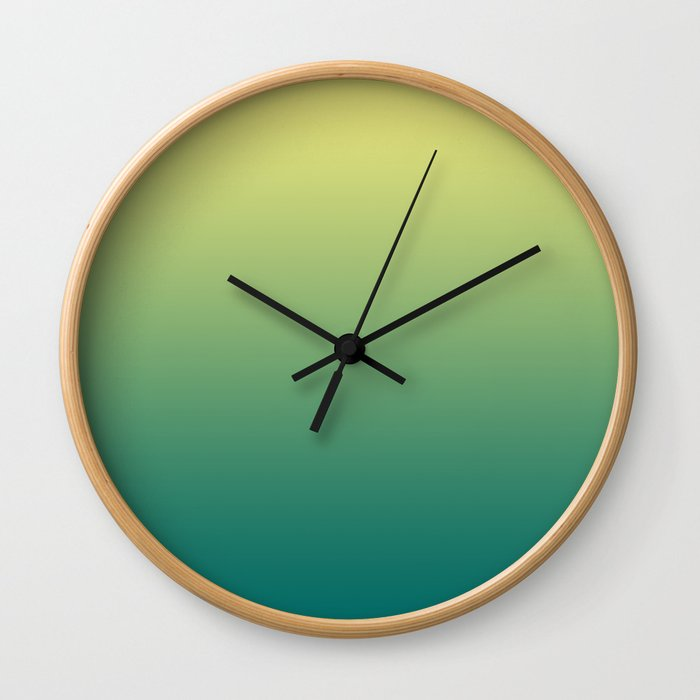Yellow Lime Quetzal Green Ombre Gradient Pattern Wall Clock