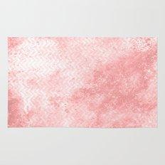 Rose quartz chevron pattern with grunge texture Rug