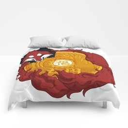 Lucky fox coin (red) Comforters