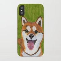 shiba inu iPhone & iPod Cases featuring Happy Shiba Inu by AnimalFrenzArt  -- Whimsical animal art