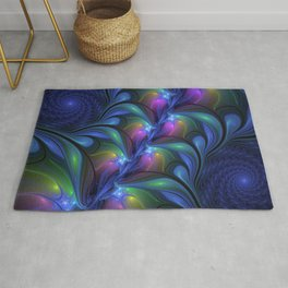 Colorful Luminous Abstract Blue Pink Green Fractal Rug