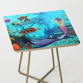 A Fish of a Different Color - Mermaid and seaturtle Side Table