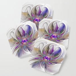Energetic, Abstract And Colorful Fractal Art Flower Coaster