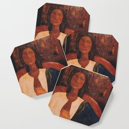 Woman in Blue Scarf Coaster