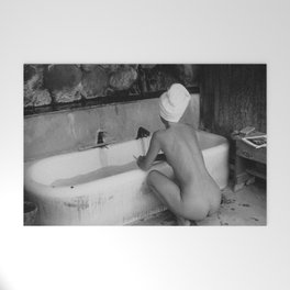 Bath in Paris, Cold Water Flat, Female Nude black and white art photography / photograph Welcome Mat