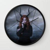satan Wall Clocks featuring satan by tadzioautumn