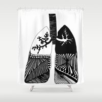 lungs Shower Curtains featuring Particle Filtration - Lungs - Respiratory System by Courtnduncan