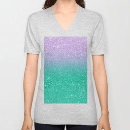 Mermaid purple teal aqua FAUX glitter ombre gradient Unisex V-Neck