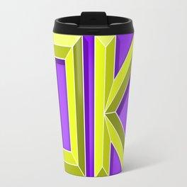 """OK"" 3D Letters (Violet Purple, Lime Green Yellow) Travel Mug"