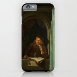 """Gerard Dou """"Man Smoking a Pipe"""" iPhone Case"""