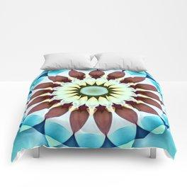 Turquois Brown Flower Kaleidoscope Comforters