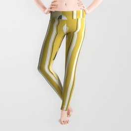 Circles and Stripes in Mustard Yellow and Gray Leggings