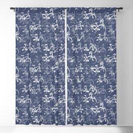 Bicycles Pattern | Medium Warm Blue Blackout Curtain