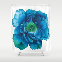 Blue Peony in Watercolor Shower Curtain