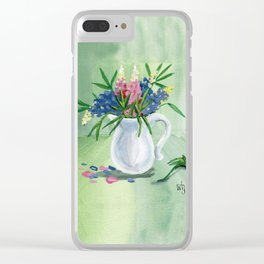 Pitcher of Lupins in Green Clear iPhone Case