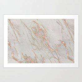 Marble - Rose Gold Marble Metallic Blush Pink Art Print