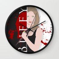 buffy the vampire slayer Wall Clocks featuring Buffy, the vampire slayer by Rose's Creation