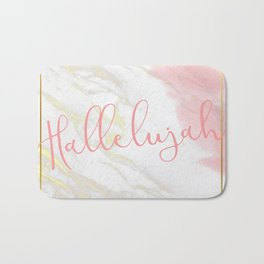 Hallelujah Pink Watercolour & Gold Marble Bath Mat