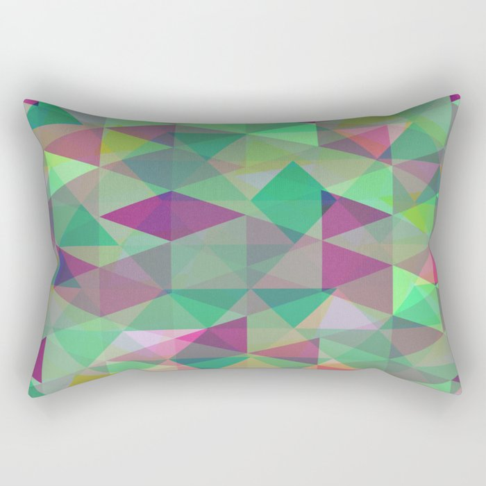 Pastel Triangles Pattern - Abstract, geometric, pastel coloured artwork Rectangular Pillow