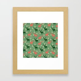 Hand painted Christmas green coral deer candy pattern Framed Art Print