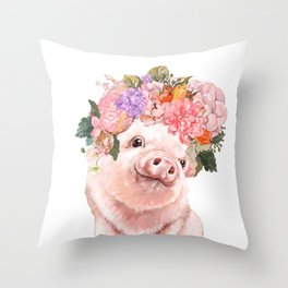 Lovely Baby Pig with Flowers Crown Throw Pillow