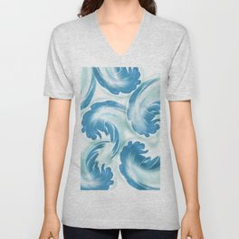 Abstract leaves blue 164 Unisex V-Neck