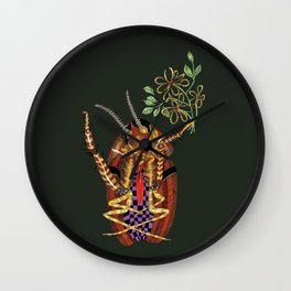 Cockroach all dressed up and ready to go paint the town Wall Clock