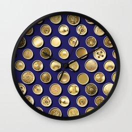 Gold Buttons Pattern Wall Clock