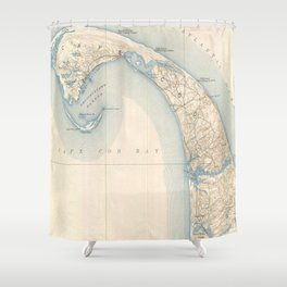 Vintage Map Of Lower Cape Cod Shower Curtain