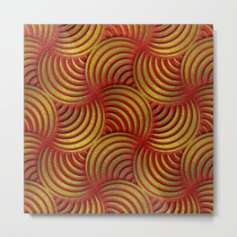 Red Leather and Gold Circulate Wave Pattern Metal Print