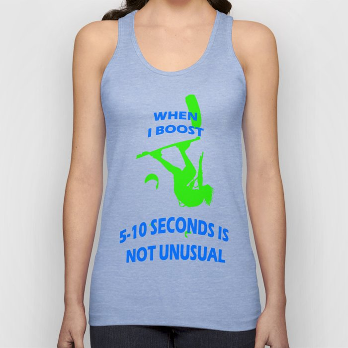 When I Boost 5-10 Seconds Is Not Unusual Neon Lime and Blue Unisex Tank Top