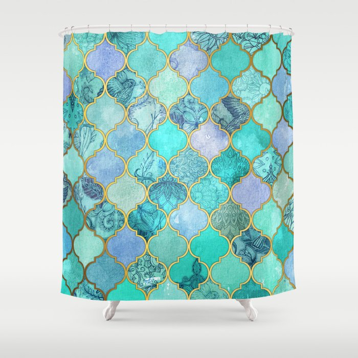 Superior Cool Jade U0026 Icy Mint Decorative Moroccan Tile Pattern Shower Curtain