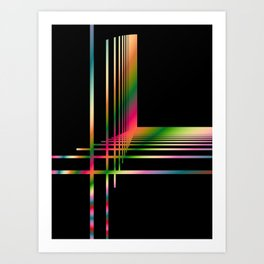 Abstract Fractal Lines and Grid Art Print