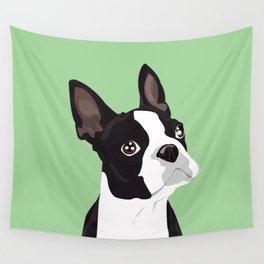 Boston Terrier Portrait - Green Wall Tapestry