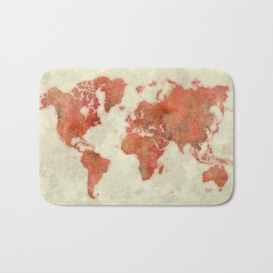 World Map Red Bath Mat